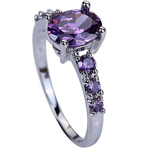 YAZILIND Wedding Band Brautrhinestone-Purpurrote Band-Verpflichtungs-Ring Für Frauen