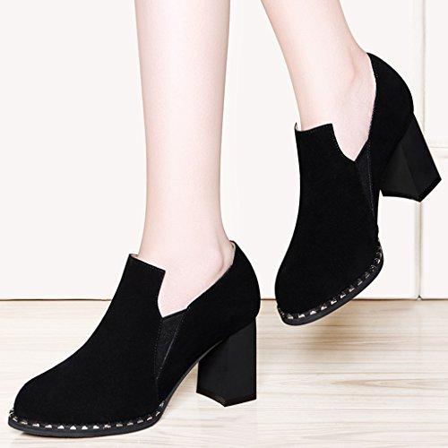 HWF Chaussures femme Chaussures simples femmes mi-talon femmes chaussures style britannique talons hauts printemps ( Couleur : Noir , taille : 34 ) Beige