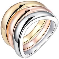 PAURO Cobre Tricolor Conjunto Anillo Apilable Para Mujer de Oro, Oro Rosa Y Oro Blanco Plateado Tamaño 14
