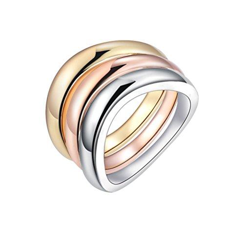 PAURO Damen Kupfer Tri Color Stapelbare Ring Set Gold, Rose Gold und Weißes Gold Überzogen Größe 57