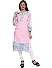 [Sponsored]ADA Hand Embroidery Lucknow Chikan Ethnic Wear Straight Cotton Kurta Kurti A170089