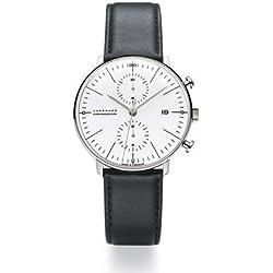Armbanduhr Max Bill Chronoscope|mit Strichblatt weiß, Armband schwarz