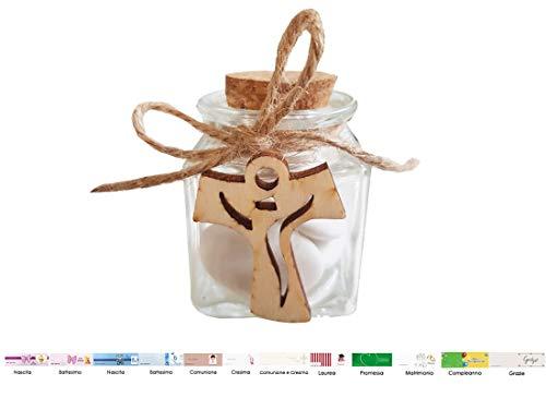 Chance irpot - 12 barattoli vetro l15154 + decorazioni in legno + 12 mt juta + bigliettini (croce tao 1130018)