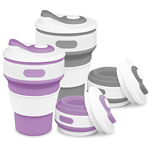 ROCONTRIP Faltbare Tasse, Silikon Becher Kaffee Camping Tasse Reise Geschenk Becher 350ml 100% Lebensmittelqualität Silikon BPA-frei geeignet für Outdoor-Aktivitäten Camping Wandern (lila + grau) (Lila Becher Tasse)