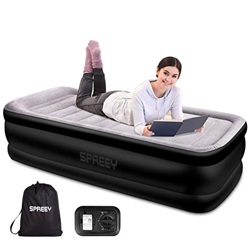 SPREEY Luftbett Twin Size Luftmatratze Gästebett mit weicher Flockauflage und eingebauter elektrischer Luftpumpe Aufblasbares Einzel-Luftbett - 196 x 97 x 51 cm