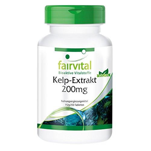 Kelp-Extrakt 200mg , natürliche Jod-Quelle mit 300mcg Jod/ 200% NRV, aus dem Nord-Atlantik, 250 vegane Tabletten, Großpackung Test