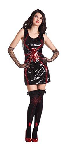 Karneval-Klamotten Spinnen-Kostüm Damen Kostüm Spinne sexy Damenkostüm schwarz-rot Halloween ()