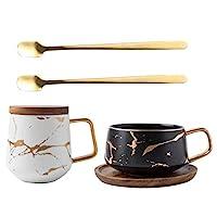 زجاجة المشروبات كشر كأس الترمس Portable Elegant Coffee Cup Luxury Household Water Bottle Real Gold Bronzing Craft Ceramic Set Mug Couple 400ml (Color : D)