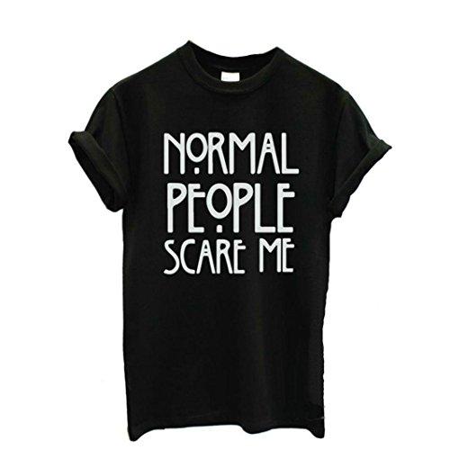 Ularma Damen Sommer Baumwolle T-Shirt Cool Buchstaben Kundkragen Kurzarm Bluse