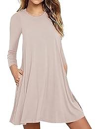 afc00240bd SHOBDW Moda Mujer Bolsillo Manga Larga Casual Loose Camiseta Vestido de  Fiesta de Noche