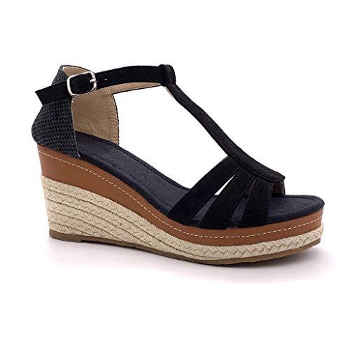 Angkorly - Chaussure Mode Sandale Espadrille salomés Ouvert lanière Cheville Femme lanières avec de la Paille tressé Talon compensé 8 CM - Noir 4 - FL32 T 36
