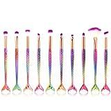 SamMoSon Make-Up Pinsel, 10Pc neue Ankunfts Einhorn Nixe Grundlage Augenschminke Kontur Augen Lippen Verfassungs Bürsten eingestellt (Mehrfarbig)