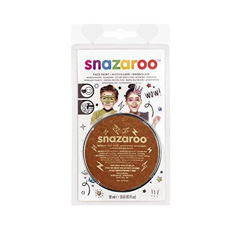 Snazaroo 1119755 Kinderschminke, hautfreundliche hypoallergene Gesichtschminke auf Wasserbasis, wasservermalbar, parabenfrei, blister - metallic - Kupfer, 18 ml Topf