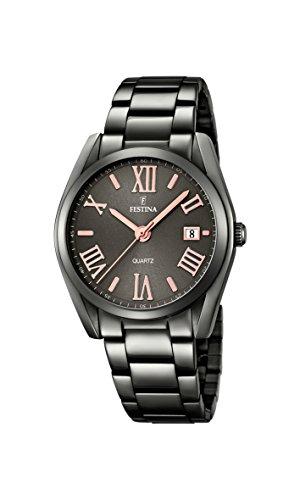 Festina, orologio da donna F16866/1, al quarzo con quadrante analogico nero e cinturino in acciaio inox color argento