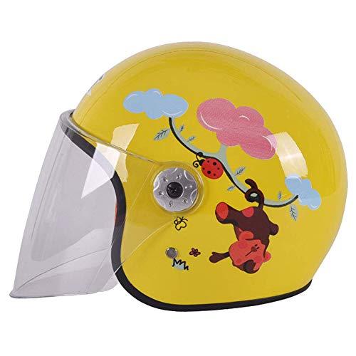 Ocean Pacific Casco- Elettrico Moto Casco Moped Bambini Quattro Stagioni Universale Mezzo Casco,Yellow