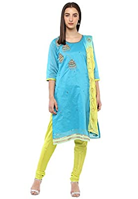 Salwar Studio Women's Blue & Green Chanderi Embroidered Dress Material with Dupatta(OM-0031422_Free Size)