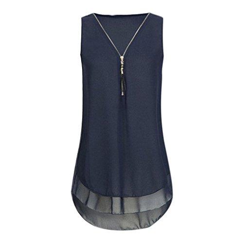 OverDose Damen Sommer Ärmellos T-Shirt Hemd Frauen Lose Tank Tops Kreuz zurück Saum Gelegt Reißverschluss V-Neck Tops(Y-Dark Blue,EU-46/CN-XXL) (Zurück Langarm-top)