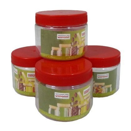Sunpet Set of 4 200ml Red Top Plastic Food Storage Canisters Jar Kitchen by Sunpet -