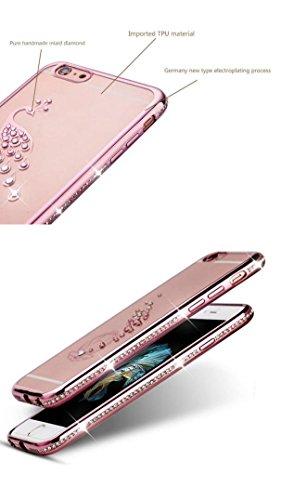 Ouneed® Kristall Diamant Überzug Klar Gummi weicher TPU Abdeckungs Fall Hülle Schutzhülle für iPhone 6 Plus / 6S Plus Case Cover (C) B