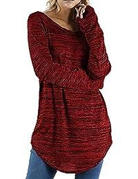 Yvelands Blusas para Mujer Tallas Grandes, Camisas de Manga Larga con Cuello Redondo y Blusa de Manga Larga de Color Negro Mujer.