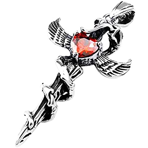 Stainless Steel Crystal Cross Angel Wing Heart Sword Men's Pendant