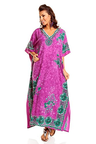 Neu Damen Überdimensional Maxi Kimono Kaftan Tunika Kaftan Damen Top Freie Größe - Lila, 46-52 (Lila Kaftan)