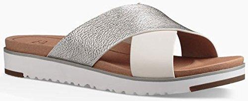 Ugg Australia Women's Kari Women's Leather Silver Slides Leather