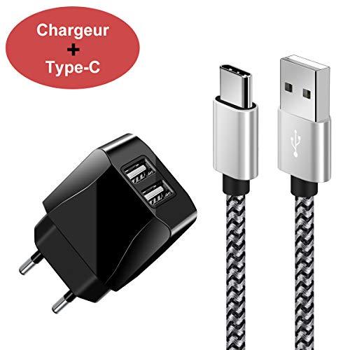 Chargeur Secteur USB 2 Ports Adaptateur USB Universel Mural Incluant Un Câble Type c 1.5M pour Samsung S9/S8 A7/A5/A3 2017, Huawei P20 /P10/P9, OnePlus,Sony Xperia et Plus