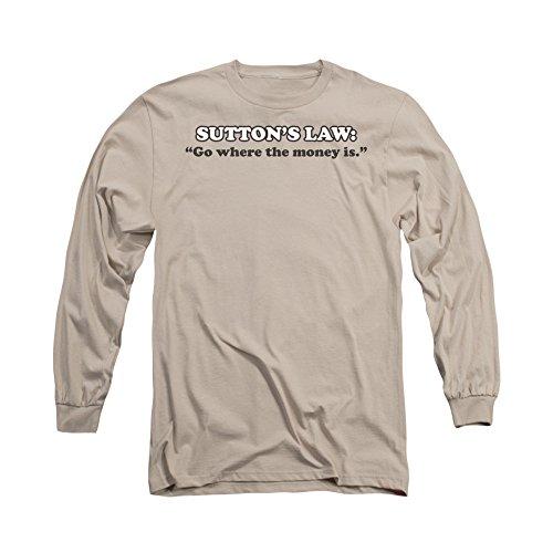 """2Bhip Sutton gesetz """"gehen, wo das geld ist"""" langarm-T-shirt für Herren Groß Beige (T-shirt Gesetz Erwachsene)"""