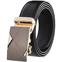 Hombres de negro lujo cinturones de piel automático hebilla cinturón de moda al por mayor