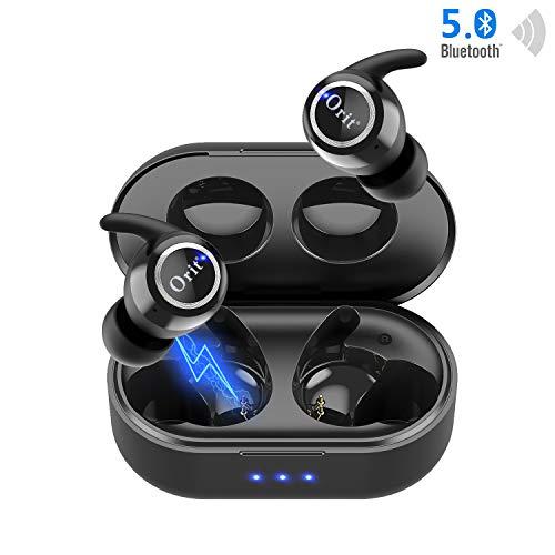 Bluetooth Kopfhörer 5.0 Kabellose Kopfhörer Sport In Ear Ohrhörer 30H Talktime HD Stereo Sound mit Portable Mini Ladekästchen und Mikrofon IPX5 Wasserdicht Bluetooth Headsets für iPhone/Samsung/Huawei