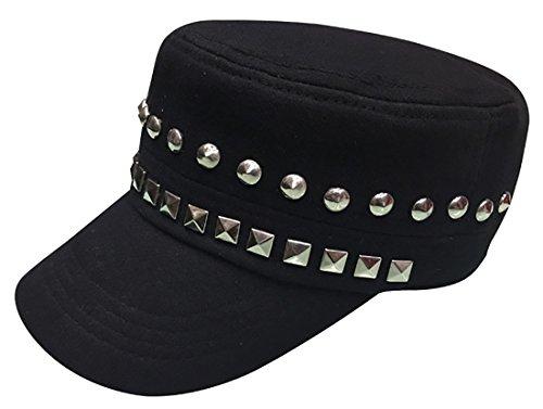 e Modische Metall Nieten Nieten Baumwolle Biker Punk Rocker Cap Hut (Hip Hop Tanz Kostüme Für Erwachsene)