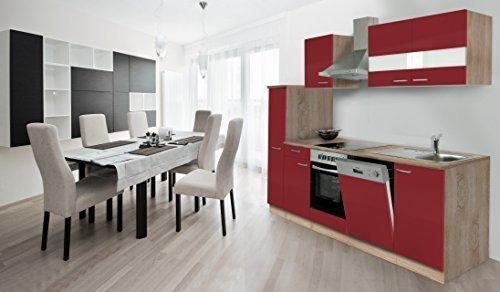 respekta Küche Küchenzeile Einbauküche Küchenblock 250 cm Eiche Sägerau Rot Ceran