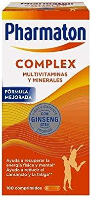 Pharmaton Complex, Multivitamínico con Ginseng, Comprimidos Compactos, Energía Física y Mental, Marrón, 100 Un