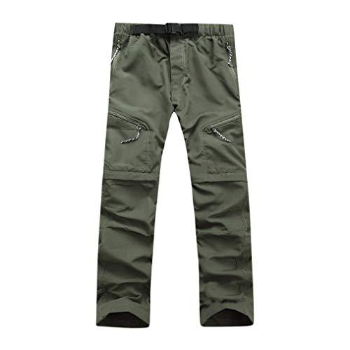 KPILP Männer Herbst Mode Sportbekleidung Schnelltrocknend Draussen Dünn abnehmbar wasserdichte Hosen Übergröße Hose(Grün, L