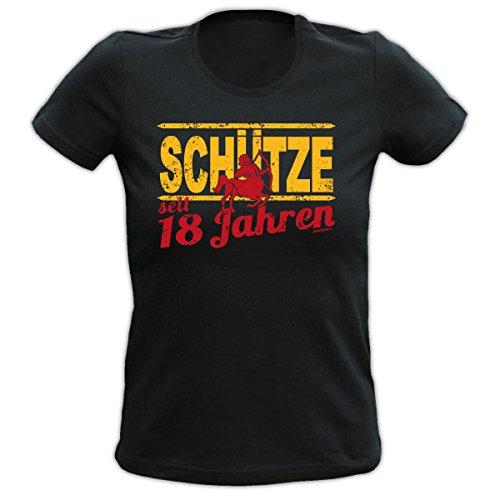 4Girls Damen T-Shirt <->          SCHÜTZE seit 18 Jahren          <->           Fun Geschenk, Goodman Design® Schwarz Schwarz