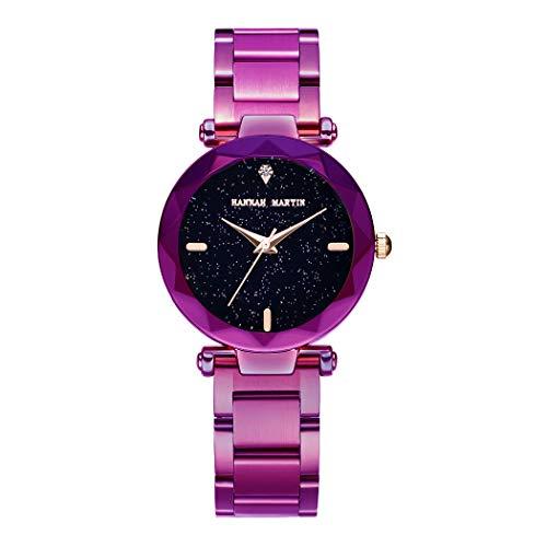 Damen Uhren, L'ananas Frauen Mode Diamant schneiden Sternenhimmel Zifferblatt Mesh Riemen Armband Armbanduhr Bracelet Women Watches (Z-Lila)