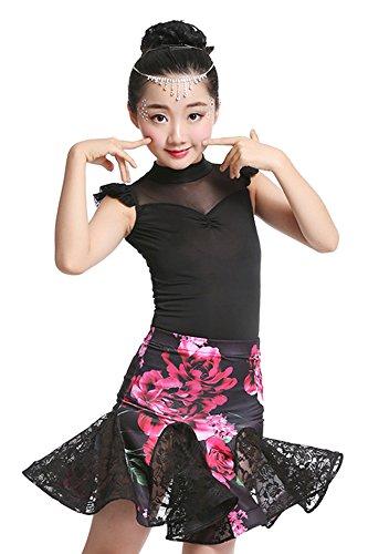 BOZEVON Kinder lateinischer Tanzkostüme Mädchen gedruckt Spitze Latin Rock Bodysuit + Rock