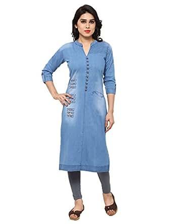 Kvsfab Women's Denim Kurta (Indowestern daily wear_) [KVSKR8105DENIM_XL]