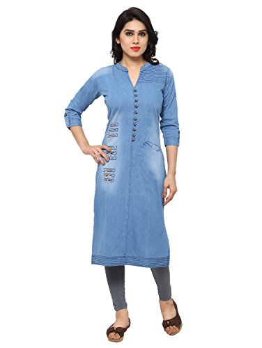 Kvsfab Blue Cotton Denim Kurta [KVSKR8105DENIM_M]