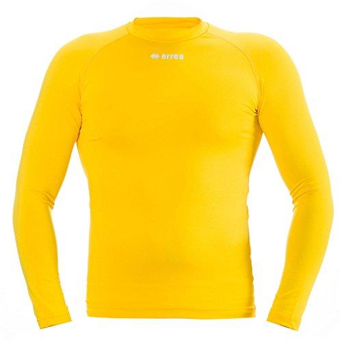 ERMES JR Funktionsshirt (langarm) von Erreà · KINDER Jungen Mädchen Sport Unterziehshirt (lang) aus Polyester · BASIC Slim-Fit Shirt (elastisch) für Teamsport · BASELAYER Kompressionsshirt (endotherm) geringe Kompression (Farbe gelb, Größe YXS)