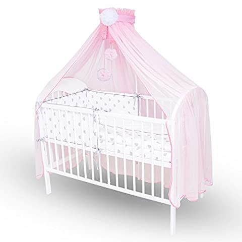 Callyna ® - Baby bed skirt XXL with support, Pink sail large size. Decorative crib mosquito net.