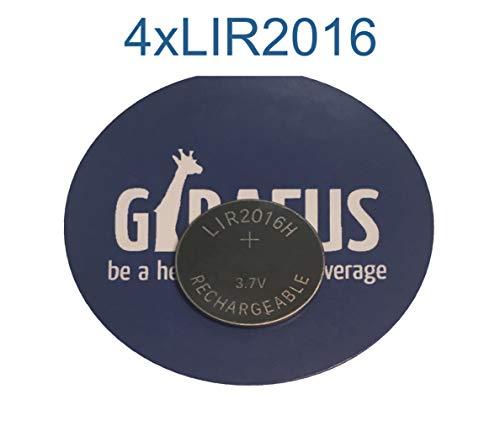 Girafus Knopfzelle-Akku 4xLIR-2016 Knopfbatterien Wiedeaufladbar 3.7 V/Ersetzt CR-2016 Knopfzellenbatterie- Button Cell für zB.: Mainboard, Taschenrechner, Fahrradcomputer, Tan Generator