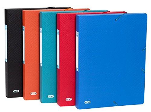 ELBA Sammelbox Urban aus Kunststoff DIN A4 Rückenbreite 40 mm 10er pack mit 5 blickdichten Farben sortiert - ideal für Büro Schule und die mobile Organisation