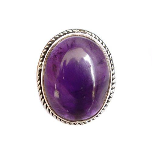 VERA CABOCHAN AMETISTA pietre preziose a mano 925 Sterling Silver Ring per Donna di argento (Rame Pietra Preziosa Del Turchese)