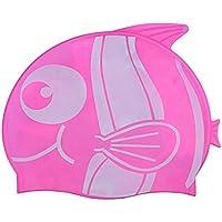 f835a8d2ff096 LIOOBO Gorro de Silicona para niños Adolescentes Niños Niñas Diversión  Pescado Lindo Gorro de natación Corto