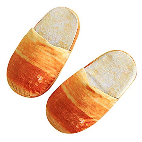 Pingtr - Plüsch Hausschuhe Baumwolle Slippers,Erwachsene Herbst-Winter-Pantoffel-warme Hauptschuhe schauen Brot-Brötchen-Plüsch-Baumwollschuhe