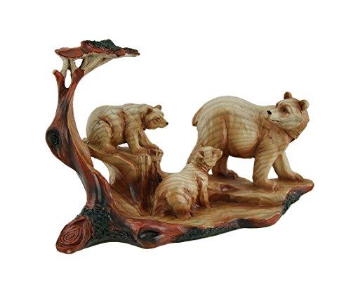 Mutter Bär und Cubs Holz geschnitzt Look Kunstharz Statue