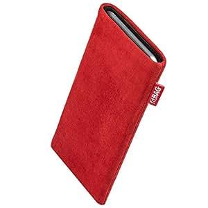 fitBAG Folk Rot Handytasche Tasche aus feinem Wildleder Echtleder mit Microfaserinnenfutter für Apple iPhone 5c 16GB 32GB