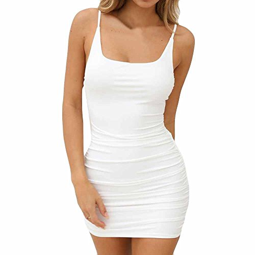 VEMOW Sommer Elegante Damen Leibchen Bodycon Sleeveless beiläufige Tägliche Party Beach Holiday Mini Kleid Mode Kleid(Weiß, EU-42/CN-L)
